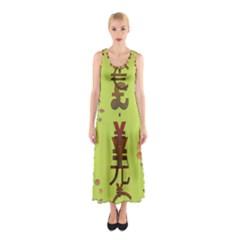 Set Of Monetary Symbols Sleeveless Maxi Dress