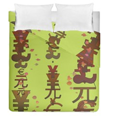 Set Of Monetary Symbols Duvet Cover Double Side (queen Size)