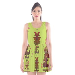 Set Of Monetary Symbols Scoop Neck Skater Dress