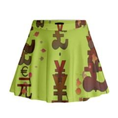 Set Of Monetary Symbols Mini Flare Skirt
