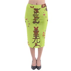 Set Of Monetary Symbols Midi Pencil Skirt