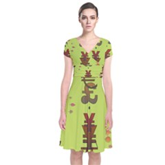Set Of Monetary Symbols Short Sleeve Front Wrap Dress