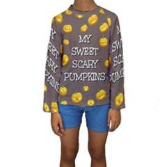 Scary Sweet Funny Cute Pumpkins Hallowen Ecard Kids  Long Sleeve Swimwear