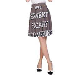 Scary Sweet Funny Cute Pumpkins Hallowen Ecard A Line Skirt