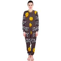 Scary Sweet Funny Cute Pumpkins Hallowen Ecard OnePiece Jumpsuit (Ladies)