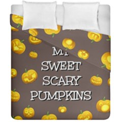 Scary Sweet Funny Cute Pumpkins Hallowen Ecard Duvet Cover Double Side (california King Size)