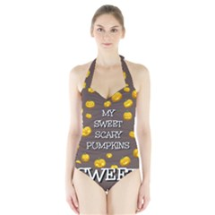 Scary Sweet Funny Cute Pumpkins Hallowen Ecard Halter Swimsuit