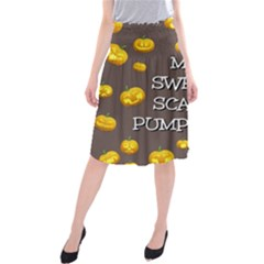 Scary Sweet Funny Cute Pumpkins Hallowen Ecard Midi Beach Skirt