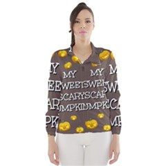 Scary Sweet Funny Cute Pumpkins Hallowen Ecard Wind Breaker (women)
