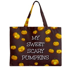 Scary Sweet Funny Cute Pumpkins Hallowen Ecard Medium Zipper Tote Bag