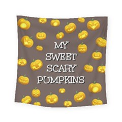 Scary Sweet Funny Cute Pumpkins Hallowen Ecard Square Tapestry (small)