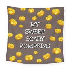 Scary Sweet Funny Cute Pumpkins Hallowen Ecard Square Tapestry (large)