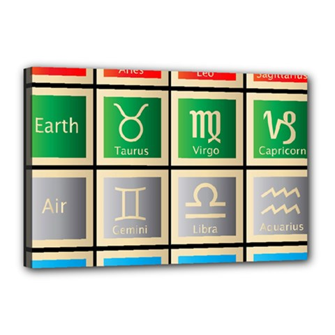 Set Of The Twelve Signs Of The Zodiac Astrology Birth Symbols Canvas 18  X 12