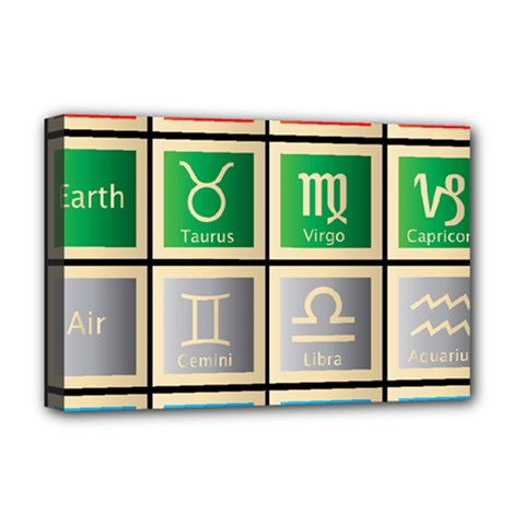 Set Of The Twelve Signs Of The Zodiac Astrology Birth Symbols Deluxe Canvas 18  X 12