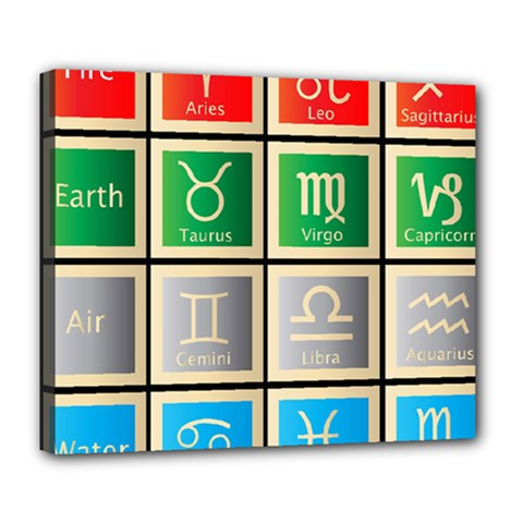 Set Of The Twelve Signs Of The Zodiac Astrology Birth Symbols Deluxe Canvas 24  X 20