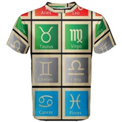 Set Of The Twelve Signs Of The Zodiac Astrology Birth Symbols Men s Cotton Tee