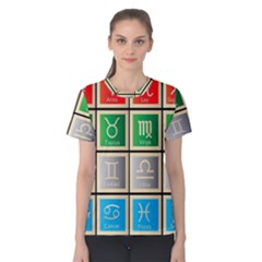 Set Of The Twelve Signs Of The Zodiac Astrology Birth Symbols Women s Cotton Tee