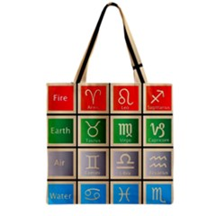 Set Of The Twelve Signs Of The Zodiac Astrology Birth Symbols Grocery Tote Bag