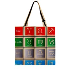 Set Of The Twelve Signs Of The Zodiac Astrology Birth Symbols Zipper Grocery Tote Bag
