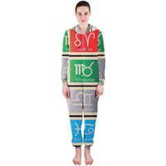 Set Of The Twelve Signs Of The Zodiac Astrology Birth Symbols Hooded Jumpsuit (ladies)