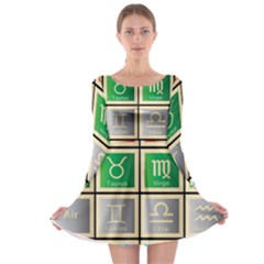 Set Of The Twelve Signs Of The Zodiac Astrology Birth Symbols Long Sleeve Skater Dress