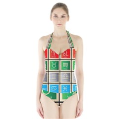 Set Of The Twelve Signs Of The Zodiac Astrology Birth Symbols Halter Swimsuit