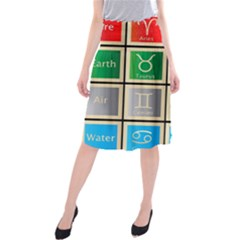 Set Of The Twelve Signs Of The Zodiac Astrology Birth Symbols Midi Beach Skirt