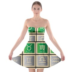 Set Of The Twelve Signs Of The Zodiac Astrology Birth Symbols Strapless Bra Top Dress