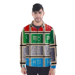 Set Of The Twelve Signs Of The Zodiac Astrology Birth Symbols Wind Breaker (men)