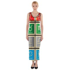 Set Of The Twelve Signs Of The Zodiac Astrology Birth Symbols Fitted Maxi Dress