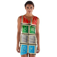 Set Of The Twelve Signs Of The Zodiac Astrology Birth Symbols Wrap Front Bodycon Dress