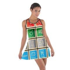 Set Of The Twelve Signs Of The Zodiac Astrology Birth Symbols Cotton Racerback Dress
