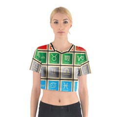 Set Of The Twelve Signs Of The Zodiac Astrology Birth Symbols Cotton Crop Top