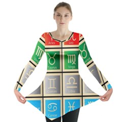 Set Of The Twelve Signs Of The Zodiac Astrology Birth Symbols Long Sleeve Tunic