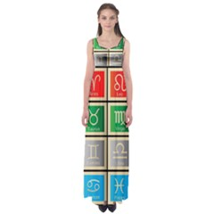 Set Of The Twelve Signs Of The Zodiac Astrology Birth Symbols Empire Waist Maxi Dress