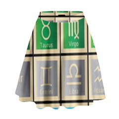 Set Of The Twelve Signs Of The Zodiac Astrology Birth Symbols High Waist Skirt