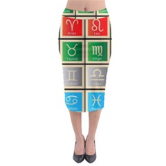 Set Of The Twelve Signs Of The Zodiac Astrology Birth Symbols Midi Pencil Skirt