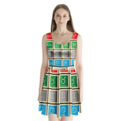 Set Of The Twelve Signs Of The Zodiac Astrology Birth Symbols Split Back Mini Dress