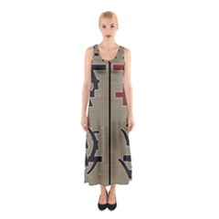 Xia Script On Gray Background Sleeveless Maxi Dress