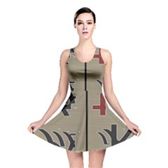 Xia Script On Gray Background Reversible Skater Dress