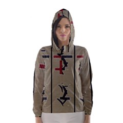 Xia Script On Gray Background Hooded Wind Breaker (women)