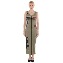 Xia Script On Gray Background Fitted Maxi Dress