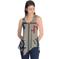 Xia Script On Gray Background Sleeveless Tunic