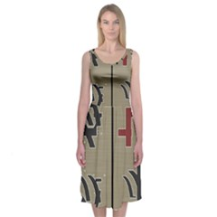 Xia Script On Gray Background Midi Sleeveless Dress
