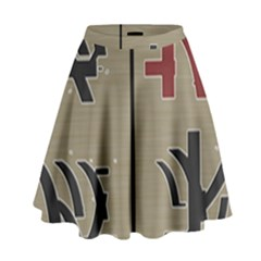 Xia Script On Gray Background High Waist Skirt