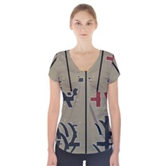 Xia Script On Gray Background Short Sleeve Front Detail Top