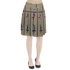 Xia Script On Gray Background Pleated Skirt