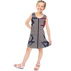 Xia Script On Gray Background Kids  Tunic Dress