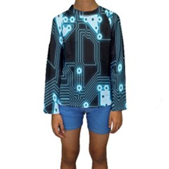A Completely Seamless Background Design Circuitry Kids  Long Sleeve Swimwear