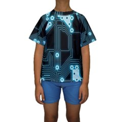 A Completely Seamless Background Design Circuitry Kids  Short Sleeve Swimwear